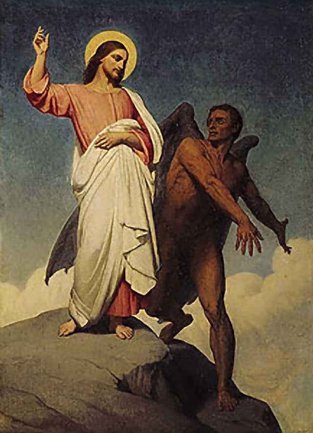 Jesus denying temptation from Lucifer